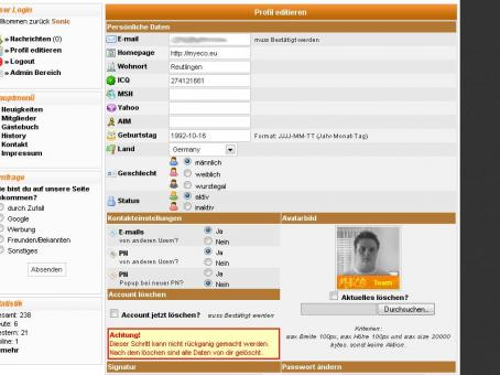 Profiledit - neues Layout 1.1